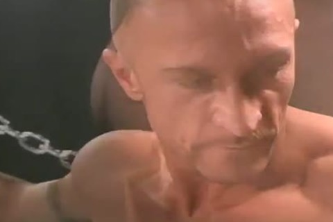 Muscled Daddy Solo And Jerking His lustful Manhood whilst In Chains