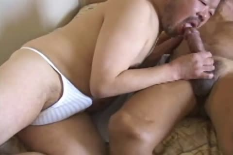 oriental daddy dude Has His massive jock Sucked By sleazy Daddy Bear
