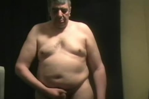 chubby daddy chap Shoves toy Up His anus