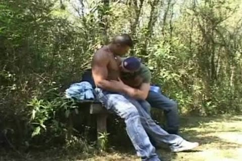lustful Beefcakes engulf weenie And Do ass outdoors