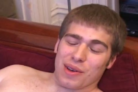 brunette hair guy Strokes His knob And Cums A Lot