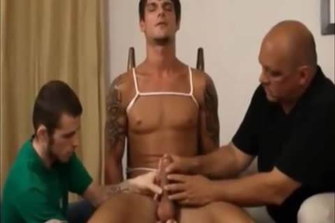 Restrained homosexual cook jerking