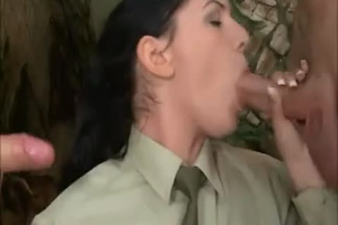 brunette hair girl In Al butthole 3some With two slutty Soldiers