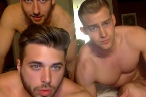 3 Muscle males Having fun On web camera