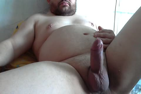 overweight amateur Tugging penis