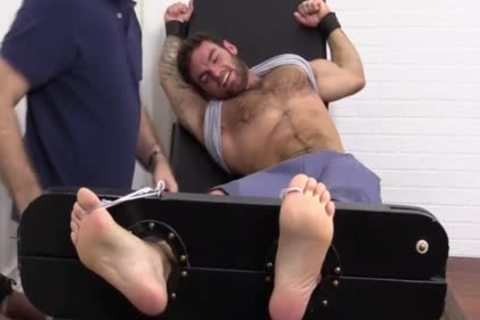 Flaming brunette hair Hunk fastened Up And Getting Foot Tortured For pleasure HD dirt Taped - SpankBang