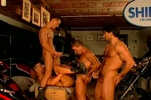 Muscled Biker men rough And bare pound Feast homosexual fuckfest