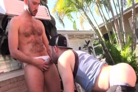 bushy Son anal a-hole banging With spooge flow