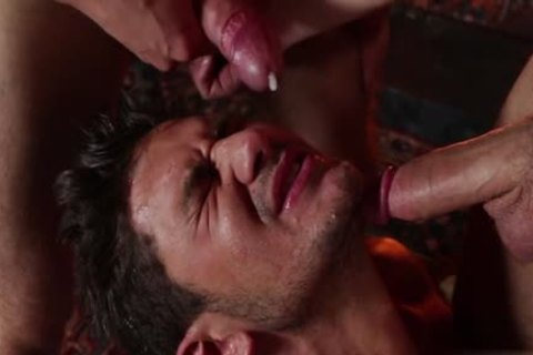 wild gay three-some And Facial
