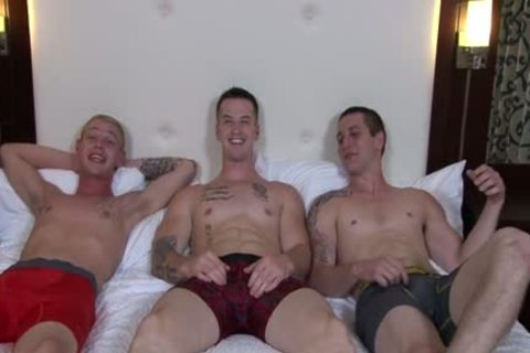 sleazy gay three-some And goo flow