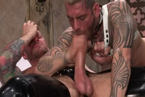 Tattoo'd Muscle Beefcakes With Bum Love Behind banging Fetish lick penis And Take A semen flow