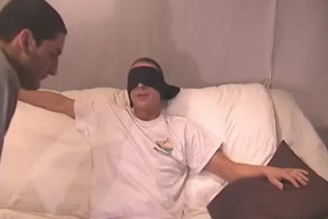 Blindfolded teen gets His cock Sucked