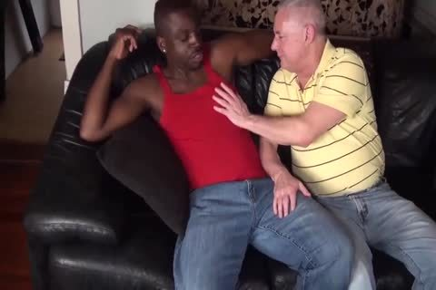 black chap pokes old dad bare