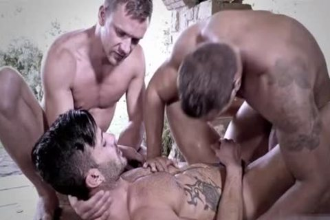 Tattoo gay trio And cumshot