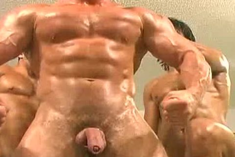 Trio Body Builders With Big Cocks Suck Fuck