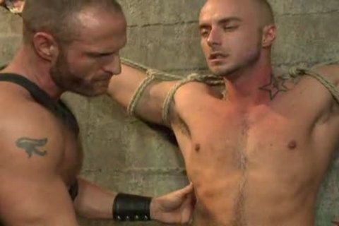 tied Up homosexual chap receives plowed By charming Leather Daddy