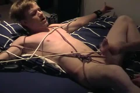 Amatuer guy tied & Jerked
