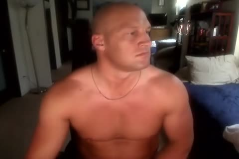 Bald Muscle guy jerking off And delicious sperm shot