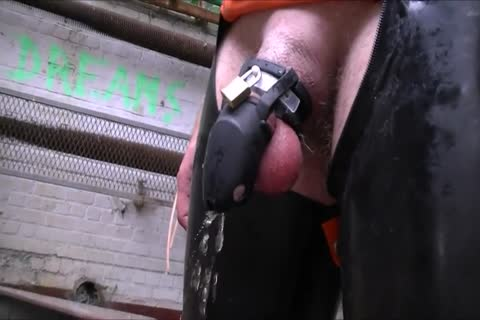 Cb Locked slave Pissing And Playing With fake penis