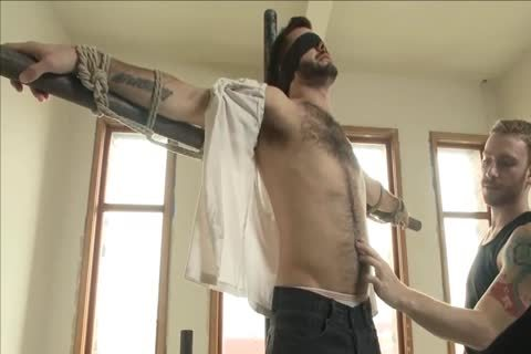 sadomasochism - juicy hairy man acquires fastened Up And Edged.