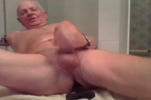 grandad stroke stroke With  A sex-dildo In pooper And sperm
