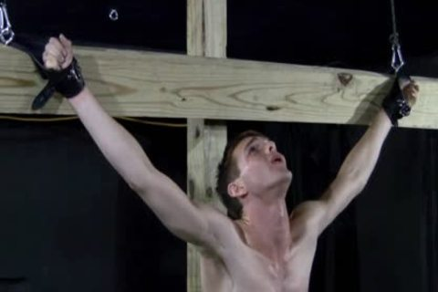 Crucified twink bonks Himself With sextoy - sadomasochism homosexual thraldom