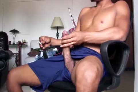 big Dicked gracious Latino dude Is Working His big Load