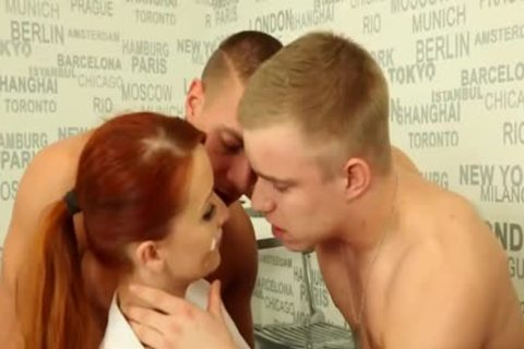 juicy ambisexual dudes banging With A Redhead