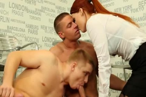 Redhead beauty blowing wang For twink Getting pounded