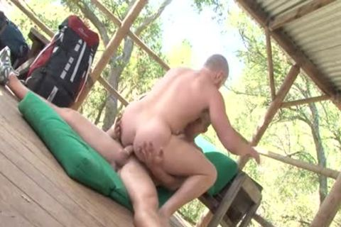 Muscle Bottom Outdoor Sex With ball cream flow