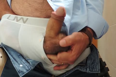 Teasing And stroking A naughty Tool With Precum In Some White Boxer underclothing