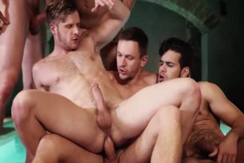 tasty gay threesome With cumshot