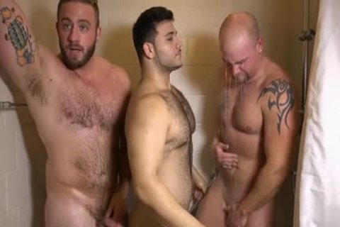 Muscle gay three-some And cumshot