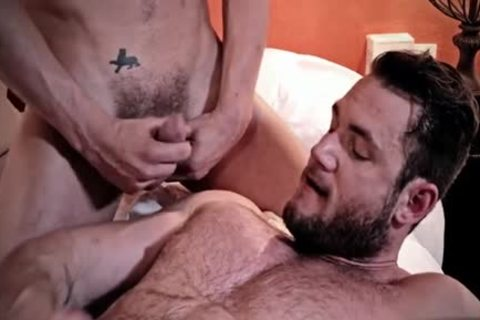 hairy gay three-some With goo flow