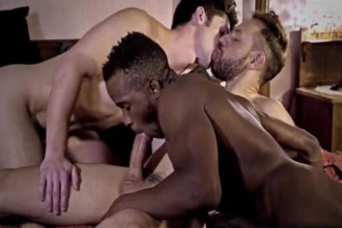 big dick homosexual three-some And goo flow