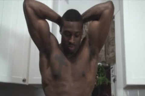 black Muscle Hunk Shows Off