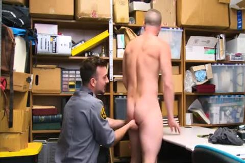 Shoplifting guy Takes cock Up His wazoo And Down His throat