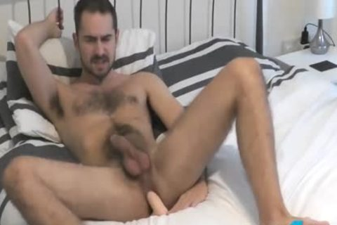 Flirt4Free Antonio West - Bearded Hunk bonks His wazoo And Cums On hairy Abs