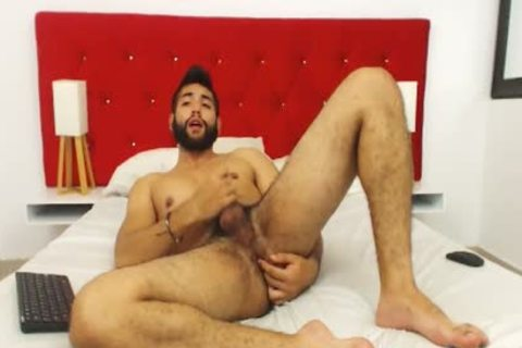 Studly hairy chap Fingers His wazoo And Cums Hard