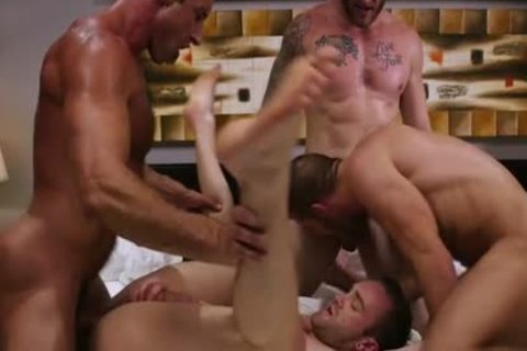 large penis Son Foursome And penis juice flow
