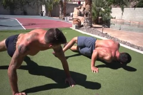 Muscle homosexual bareback With Facial