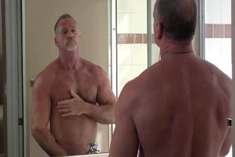 lusty Muscle Daddy Mikey Shower jack off & sperm
