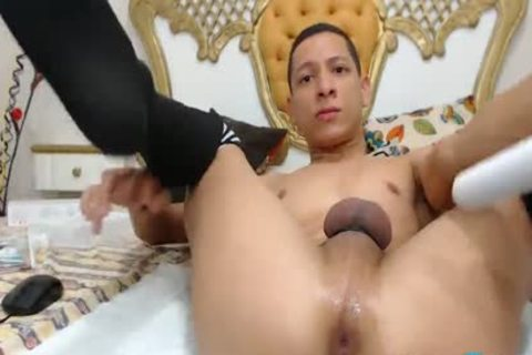 Flirt4Free Model Adan tasty - Toned twink In stockings Plays With His big Uncut penis And naughty butthole