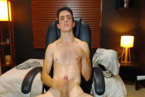 Duke J - Flirt4Free -  large Dicked chap Jerks Off With A Vibrating OhMiBod Lodged deep In His wazoo