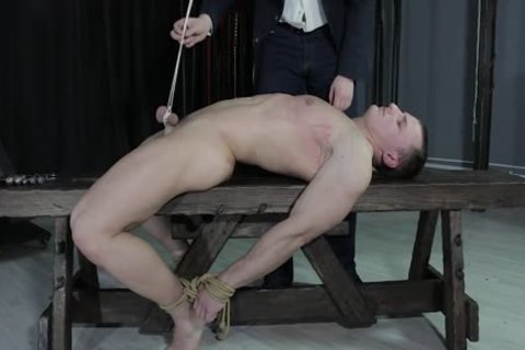 sexy chap fastened Down, Balls Strung Up And Spanked