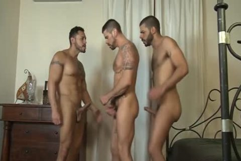 Three homosexuals have a joy Their buttholes