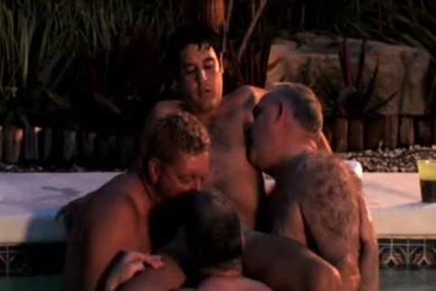 Three homo Dads enjoy Blowjobs In The Pool