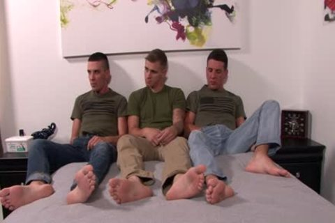 enormous penis homosexual three-some With Facial