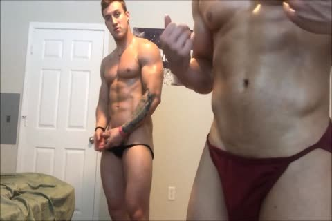 Two Muscle guys Showing Off
