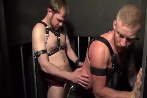 Muscle Leathermen unprotected In Bathhouse
